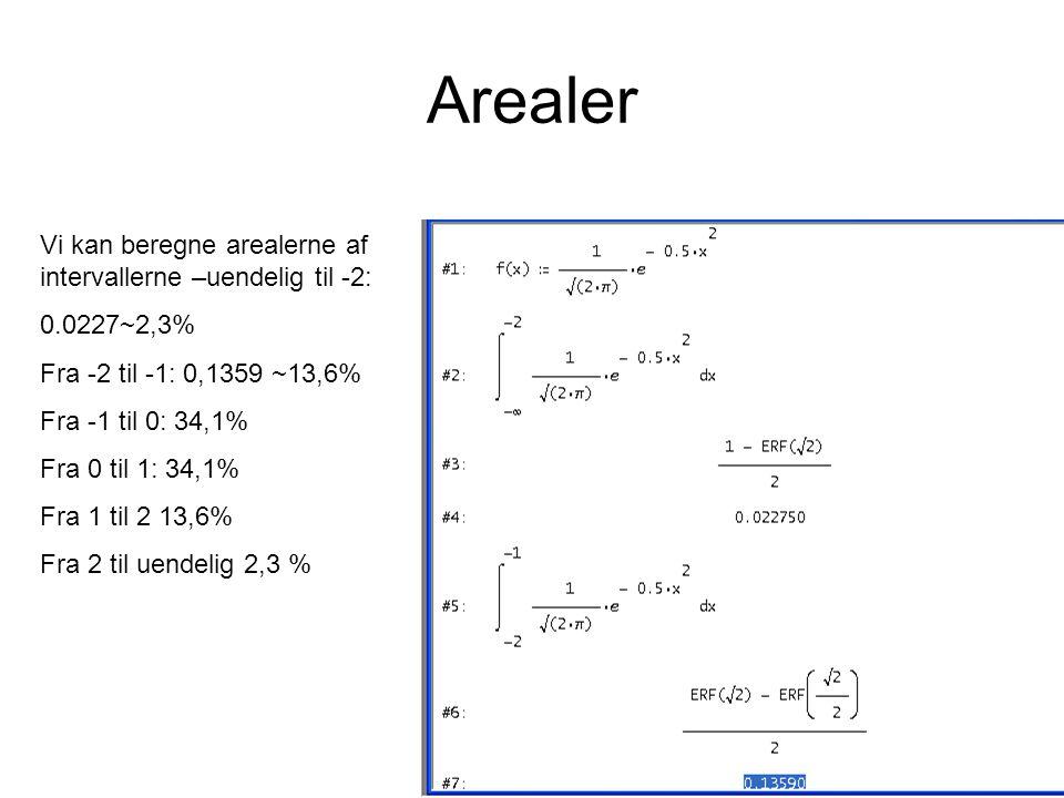 Arealer Vi kan beregne arealerne af intervallerne –uendelig til -2: