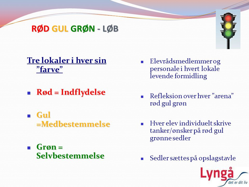 RØD GUL GRØN - LØB Tre lokaler i hver sin farve Rød = Indflydelse