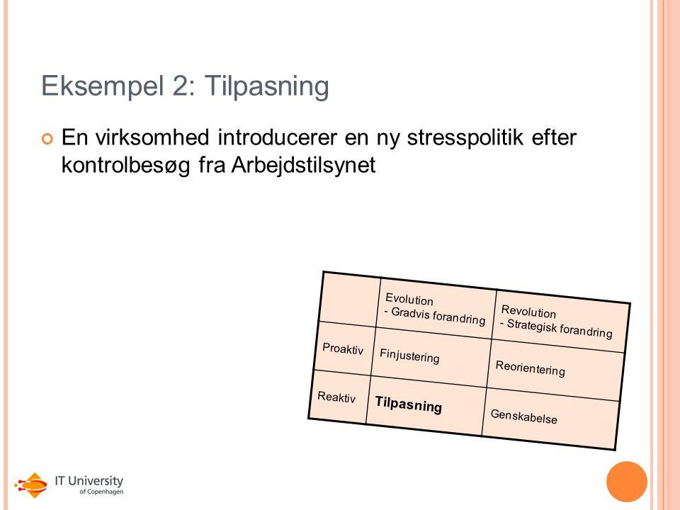 Eksempel 2: Tilpasning En virksomhed introducerer en ny stresspolitik efter kontrolbesøg fra Arbejdstilsynet.