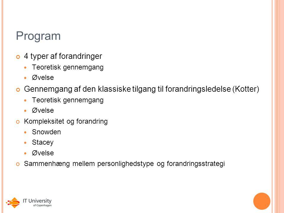 Program 4 typer af forandringer