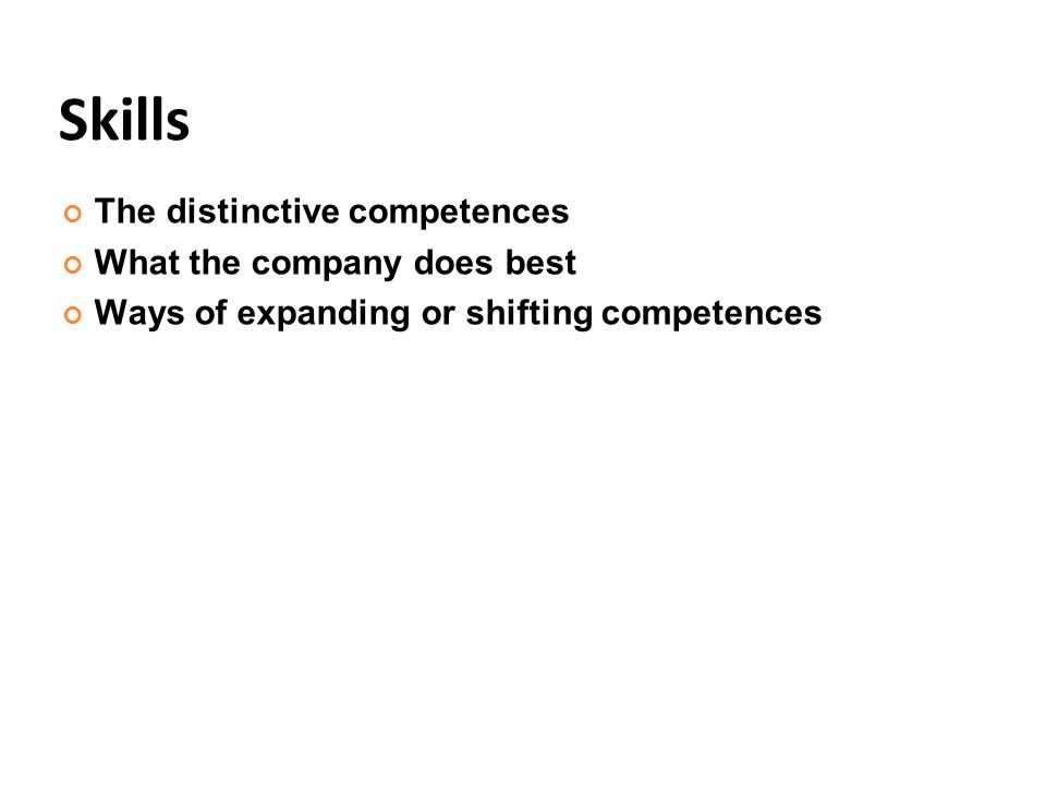 Skills The distinctive competences What the company does best