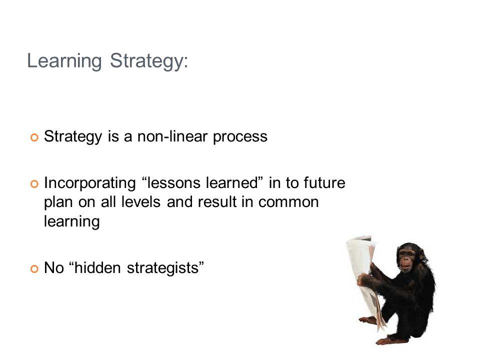 Learning Strategy: Strategy is a non-linear process