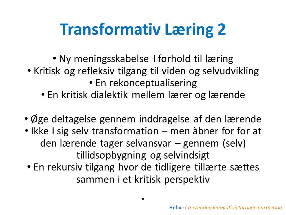 Transformativ Læring 2 . Ny meningsskabelse I forhold til læring