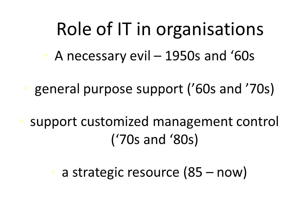 Role of IT in organisations