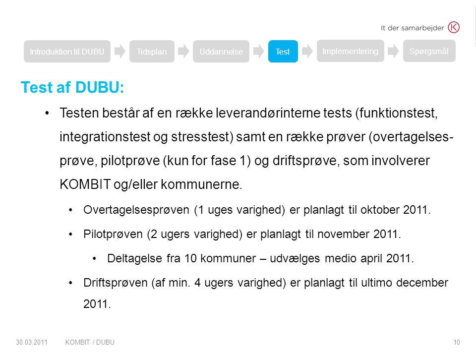 Introduktion til DUBU Tidsplan. Uddannelse. Test. Implementering. Spørgsmål. Test af DUBU: