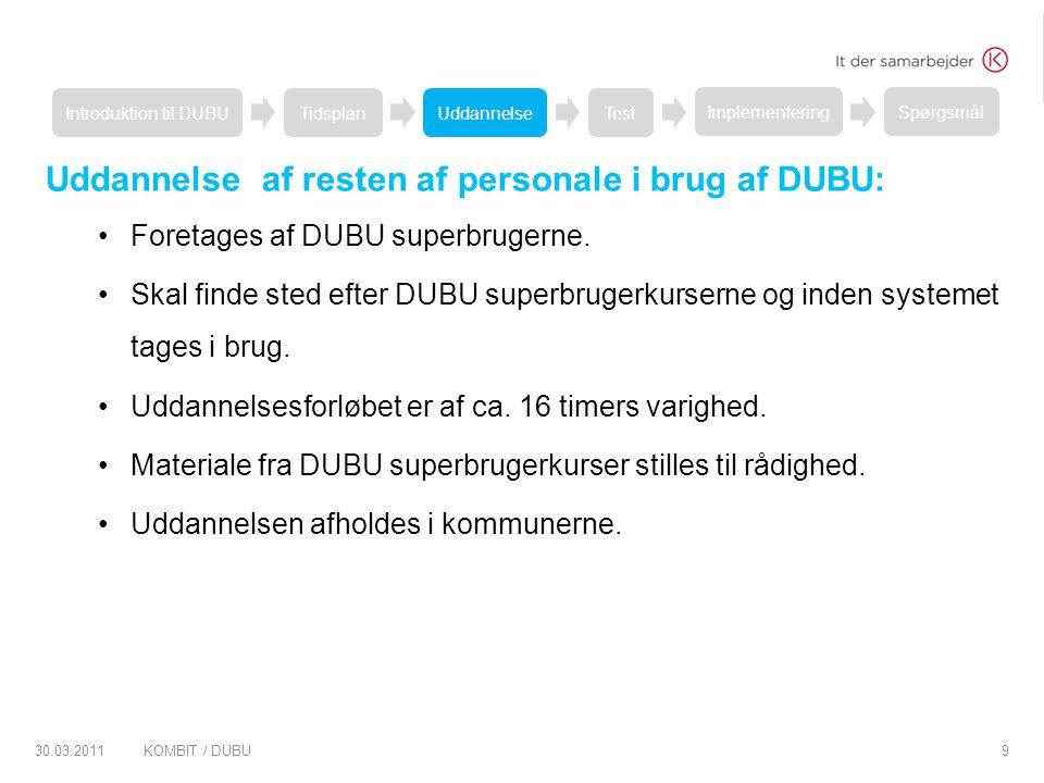 Uddannelse af resten af personale i brug af DUBU: