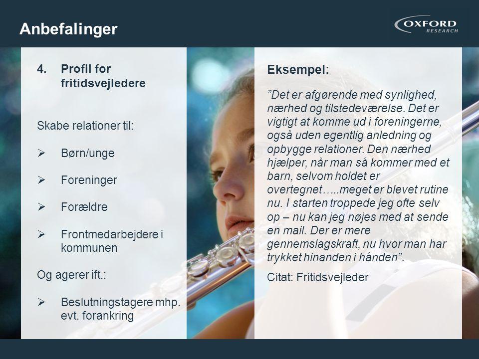 Anbefalinger Eksempel: Profil for fritidsvejledere