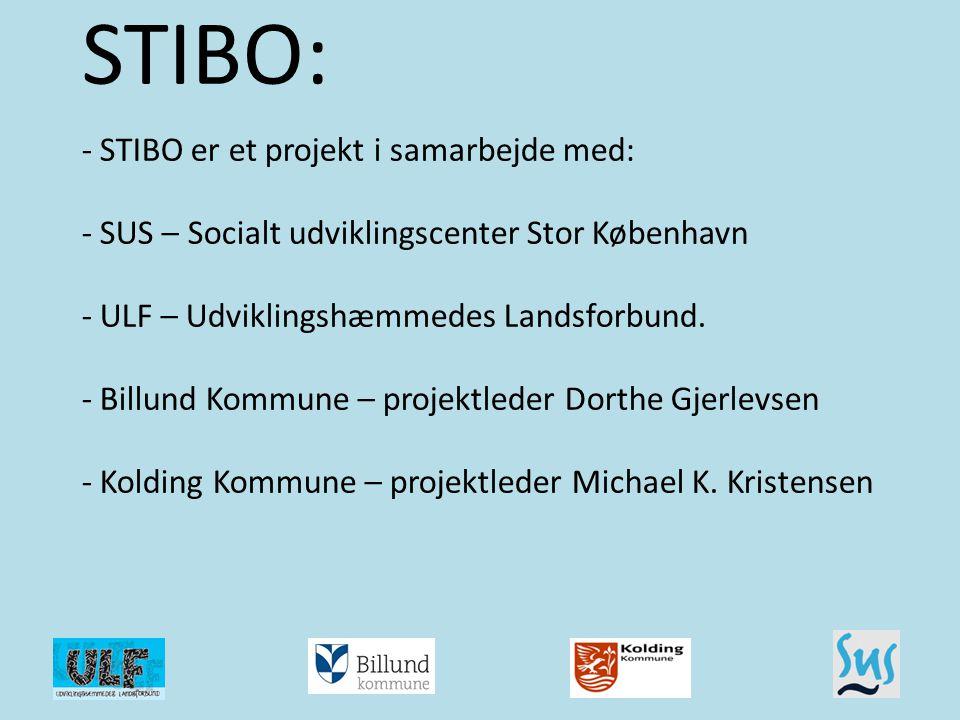STIBO: - STIBO er et projekt i samarbejde med: - SUS – Socialt udviklingscenter Stor København - ULF – Udviklingshæmmedes Landsforbund. - Billund Kommune – projektleder Dorthe Gjerlevsen - Kolding Kommune – projektleder Michael K. Kristensen