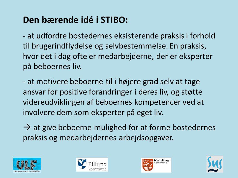 Den bærende idé i STIBO: - at udfordre bostedernes eksisterende praksis i forhold til brugerindflydelse og selvbestemmelse. En praksis, hvor det i dag ofte er medarbejderne, der er eksperter på beboernes liv. - at motivere beboerne til i højere grad selv at tage ansvar for positive forandringer i deres liv, og støtte videreudviklingen af beboernes kompetencer ved at involvere dem som eksperter på eget liv.  at give beboerne mulighed for at forme bostedernes praksis og medarbejdernes arbejdsopgaver.