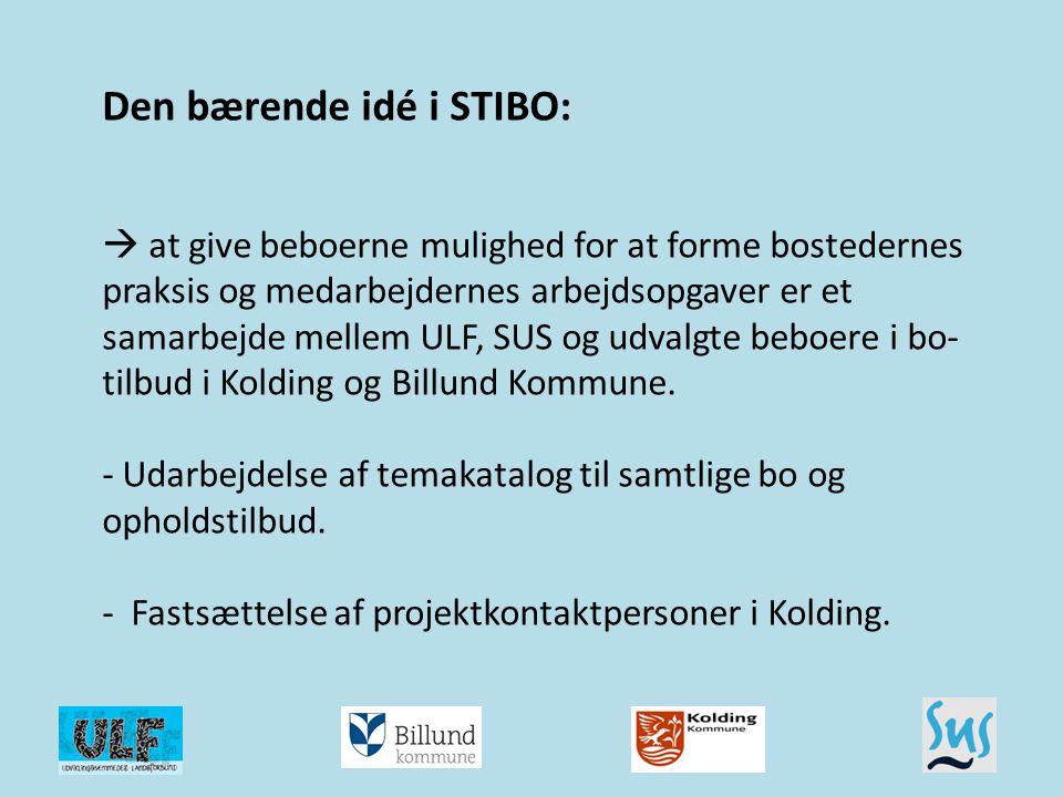 Den bærende idé i STIBO:  at give beboerne mulighed for at forme bostedernes praksis og medarbejdernes arbejdsopgaver er et samarbejde mellem ULF, SUS og udvalgte beboere i bo-tilbud i Kolding og Billund Kommune. - Udarbejdelse af temakatalog til samtlige bo og opholdstilbud. - Fastsættelse af projektkontaktpersoner i Kolding.