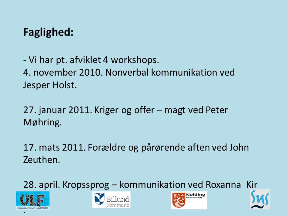 Faglighed: - Vi har pt. afviklet 4 workshops. 4. november 2010