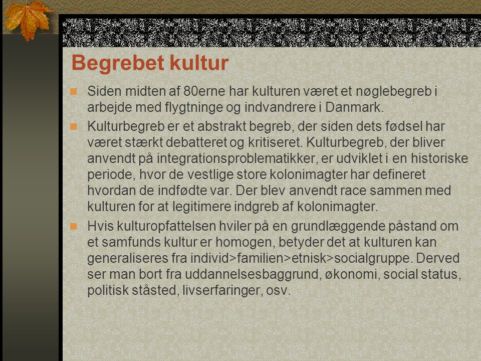 Begrebet kultur Siden midten af 80erne har kulturen været et nøglebegreb i arbejde med flygtninge og indvandrere i Danmark.