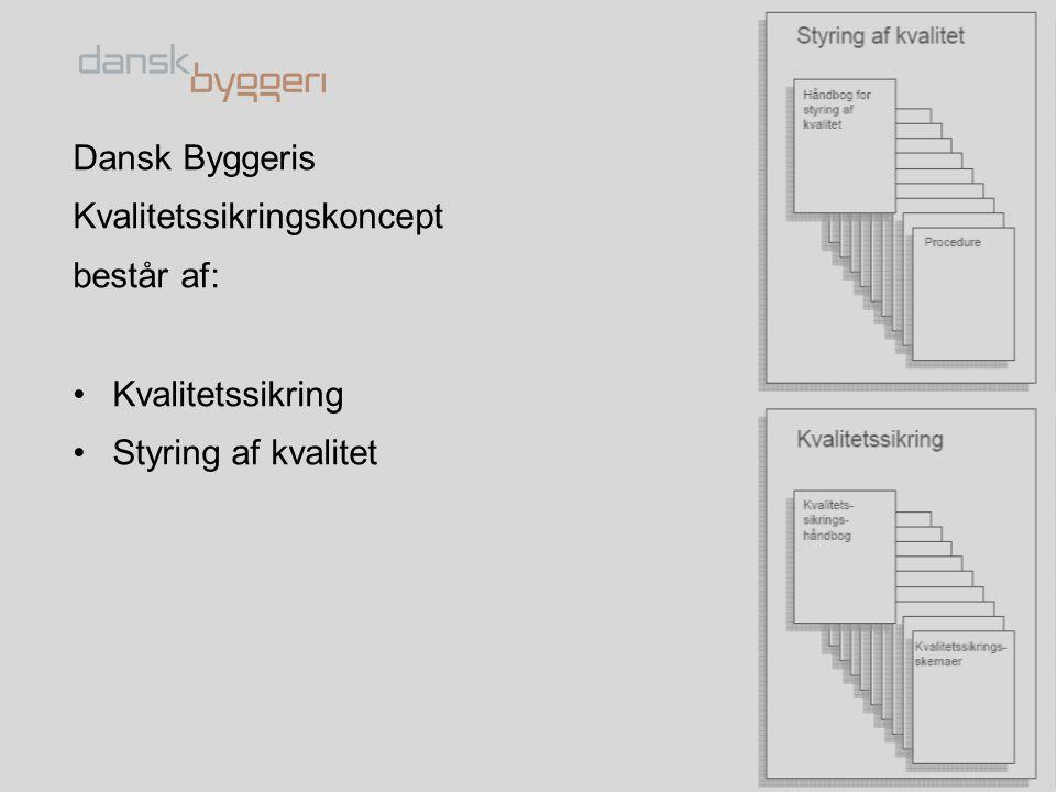 Dansk Byggeris Kvalitetssikringskoncept består af: Kvalitetssikring Styring af kvalitet