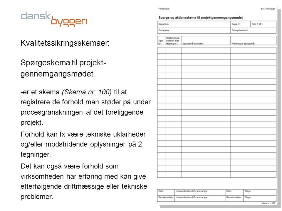 Kvalitetssikringsskemaer: Spørgeskema til projekt-gennemgangsmødet.