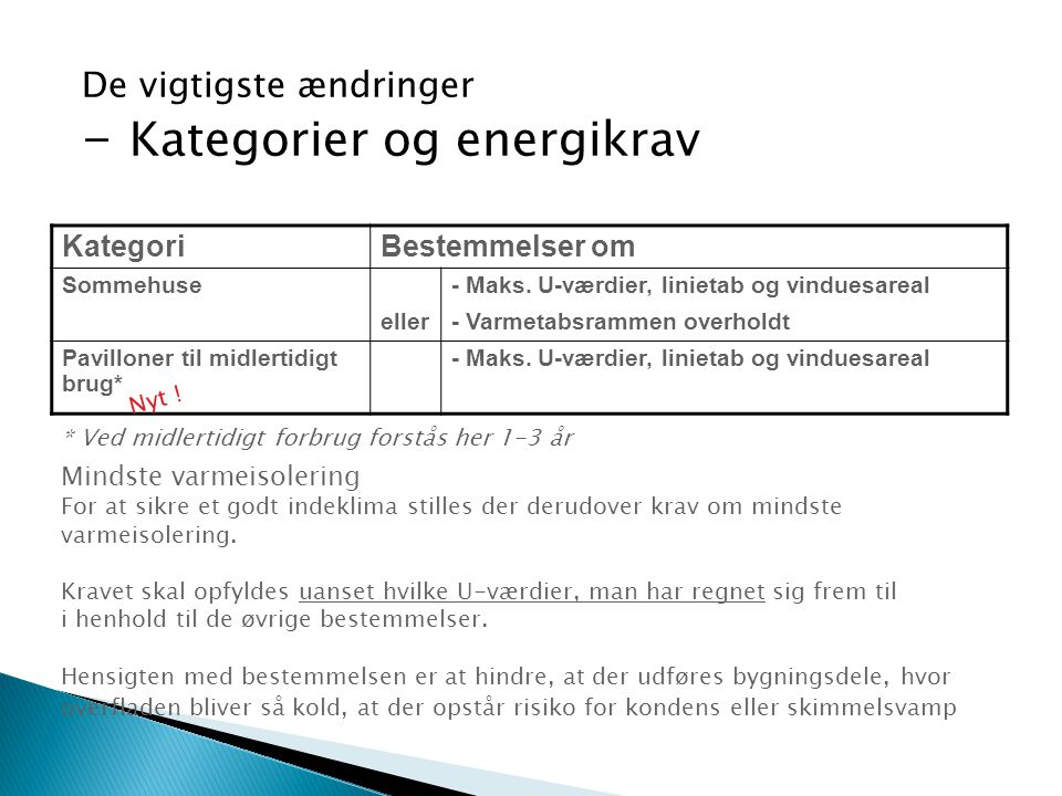 De vigtigste ændringer - Kategorier og energikrav