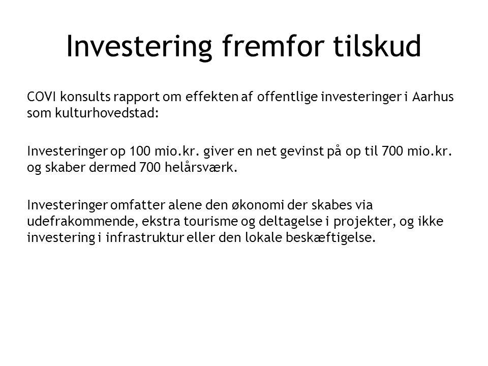 Investering fremfor tilskud