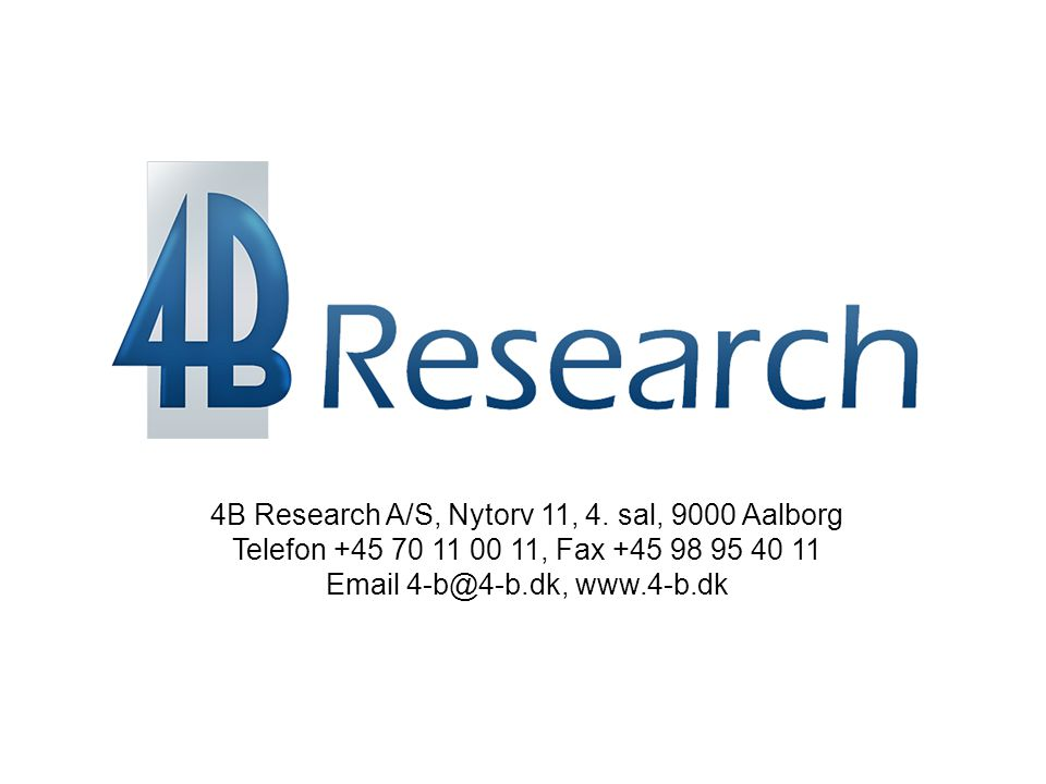 4B Research A/S, Nytorv 11, 4. sal, 9000 Aalborg