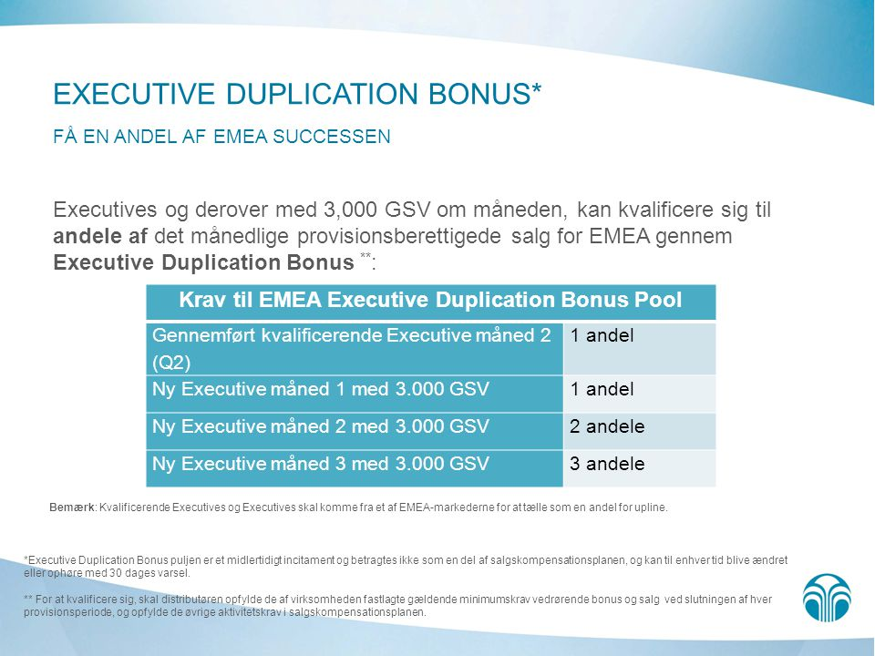 Krav til EMEA Executive Duplication Bonus Pool