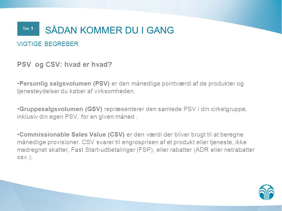 SÅDAN KOMMER DU I GANG PSV og CSV: hvad er hvad VIGTIGE BEGREBER