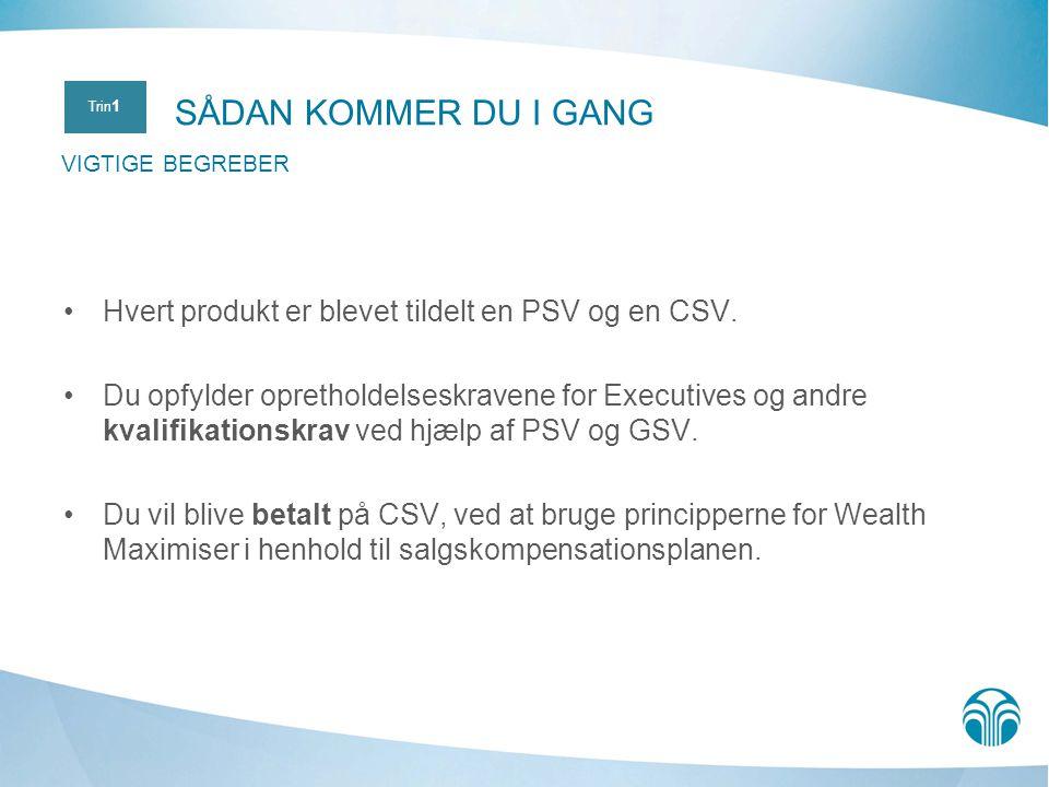 SÅDAN KOMMER DU I GANG VIGTIGE BEGREBER. Trin1. Hvert produkt er blevet tildelt en PSV og en CSV.