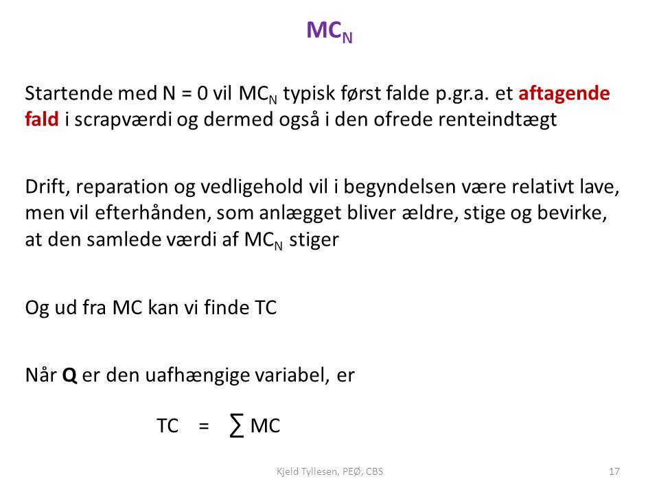 MCN Startende med N = 0 vil MCN typisk først falde p.gr.a. et aftagende fald i scrapværdi og dermed også i den ofrede renteindtægt.