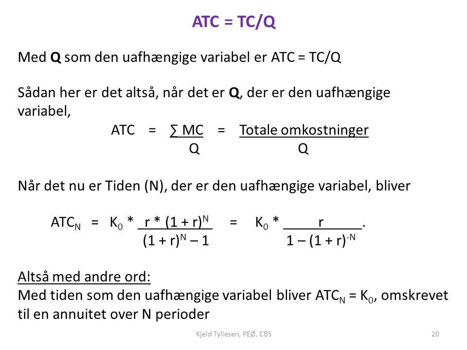 ATC = TC/Q Med Q som den uafhængige variabel er ATC = TC/Q
