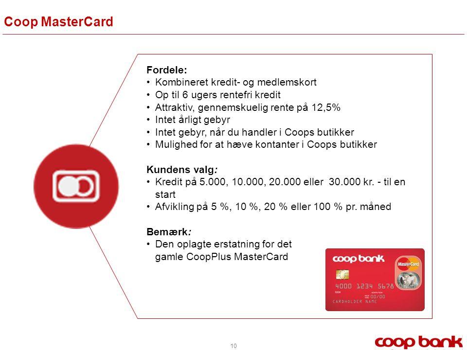Coop MasterCard Fordele: Kombineret kredit- og medlemskort
