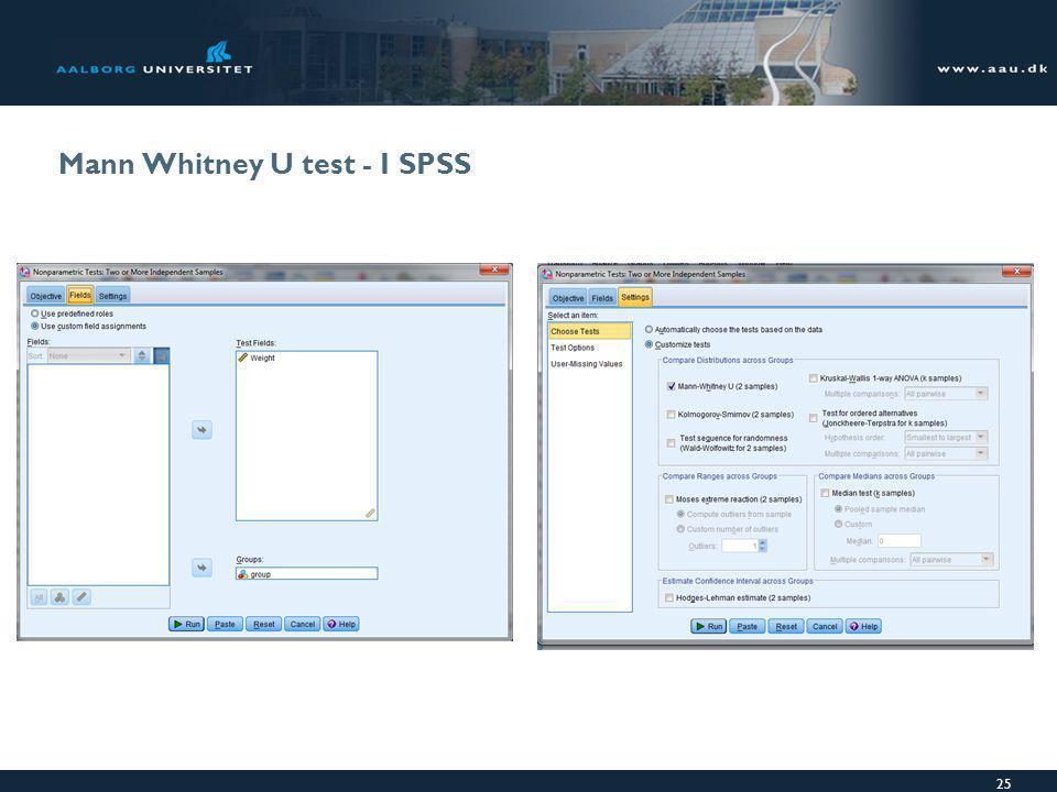 Mann Whitney U test - I SPSS