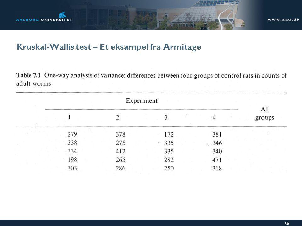 Kruskal-Wallis test – Et eksampel fra Armitage