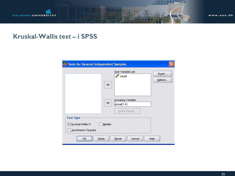Kruskal-Wallis test – i SPSS
