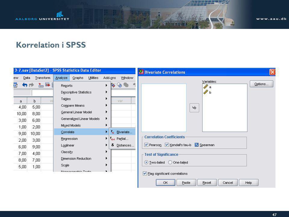 Korrelation i SPSS