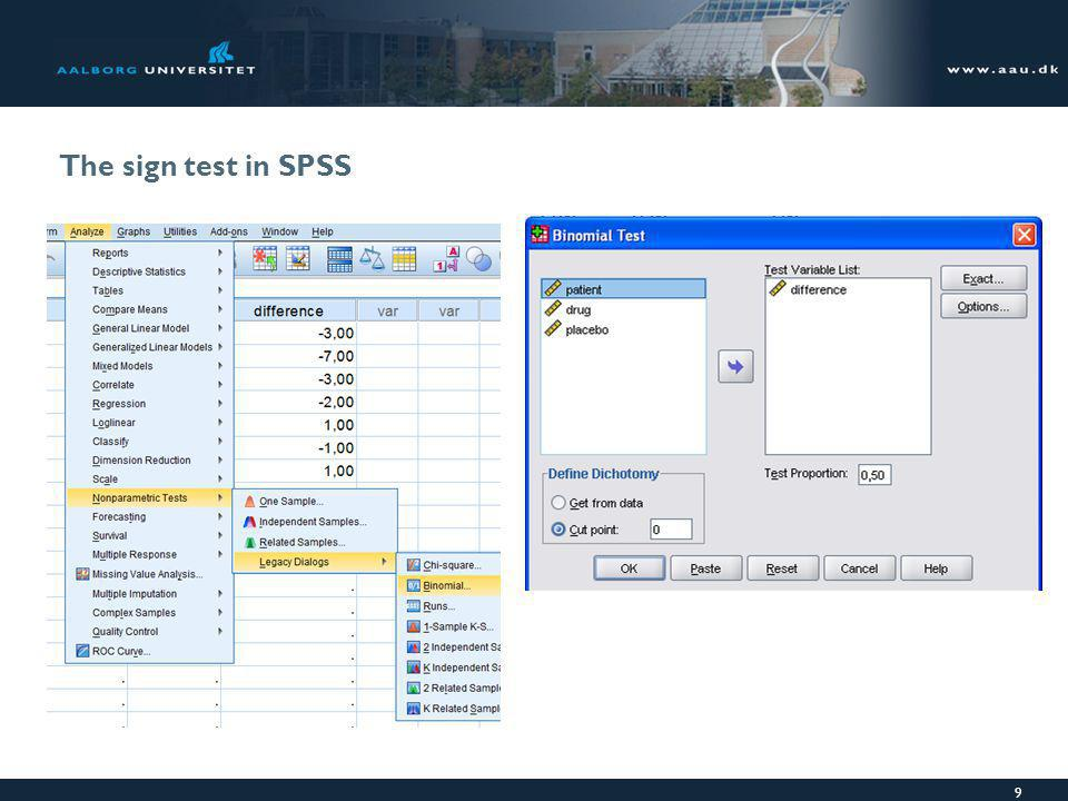 The sign test in SPSS