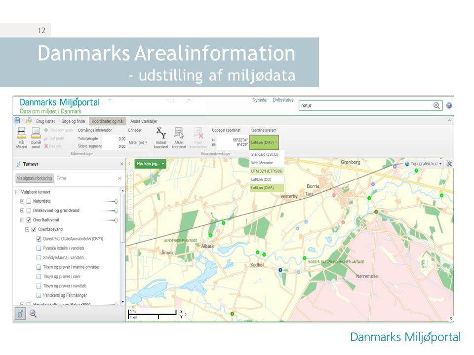 Danmarks Arealinformation - udstilling af miljødata
