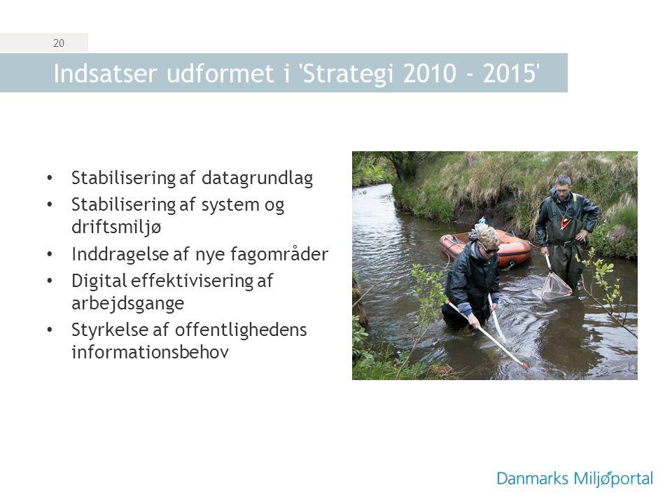 Indsatser udformet i Strategi 2010 - 2015