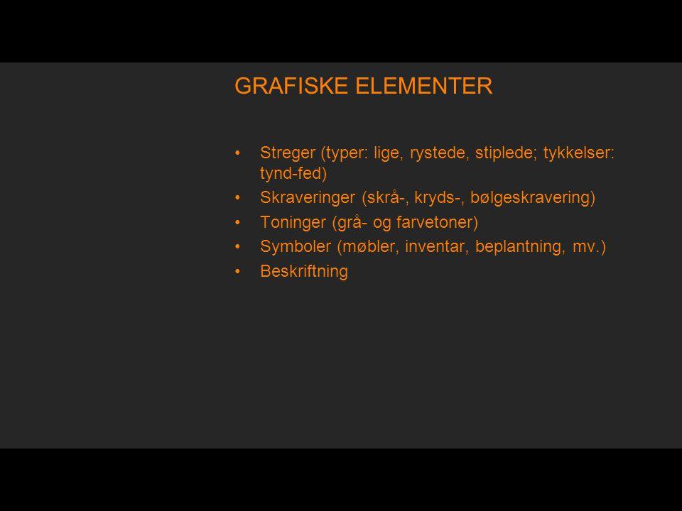 GRAFISKE ELEMENTER Streger (typer: lige, rystede, stiplede; tykkelser: tynd-fed) Skraveringer (skrå-, kryds-, bølgeskravering)