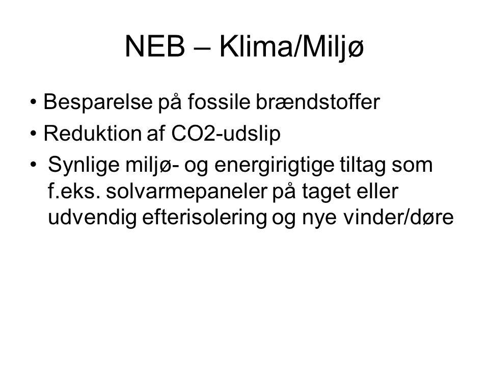 NEB – Klima/Miljø • Besparelse på fossile brændstoffer