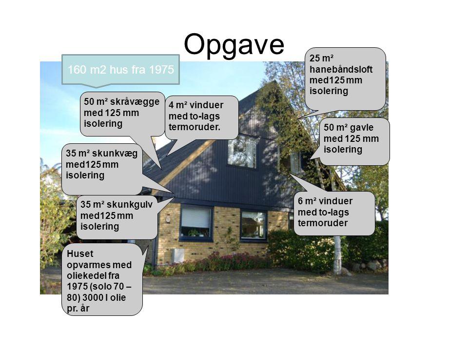 Opgave 160 m2 hus fra 1975 25 m² hanebåndsloft med125 mm isolering