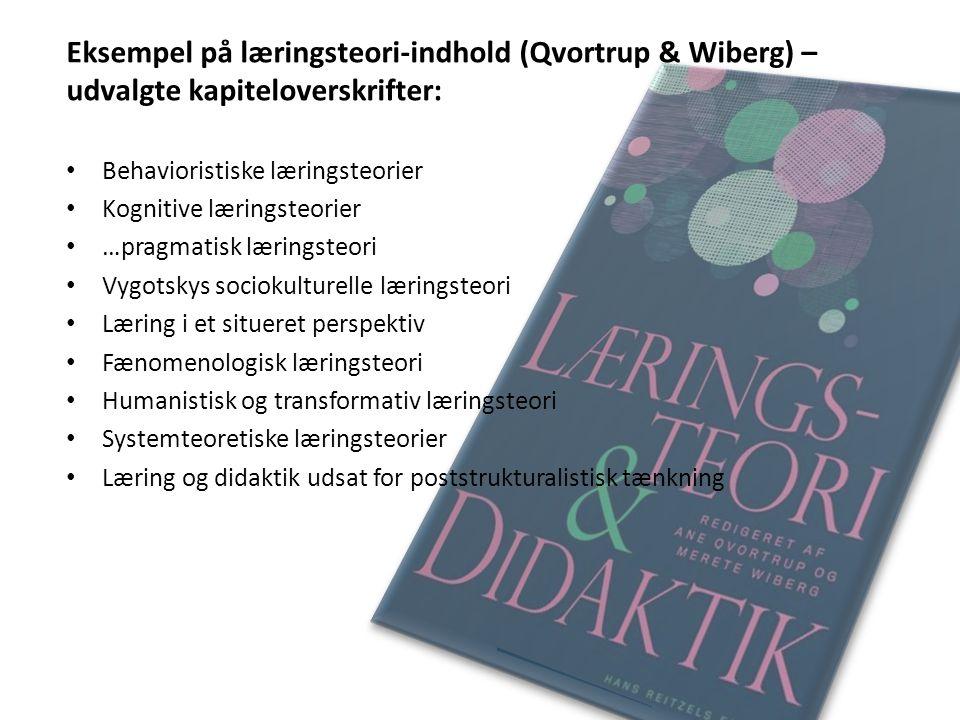 Eksempel på læringsteori-indhold (Qvortrup & Wiberg) – udvalgte kapiteloverskrifter: