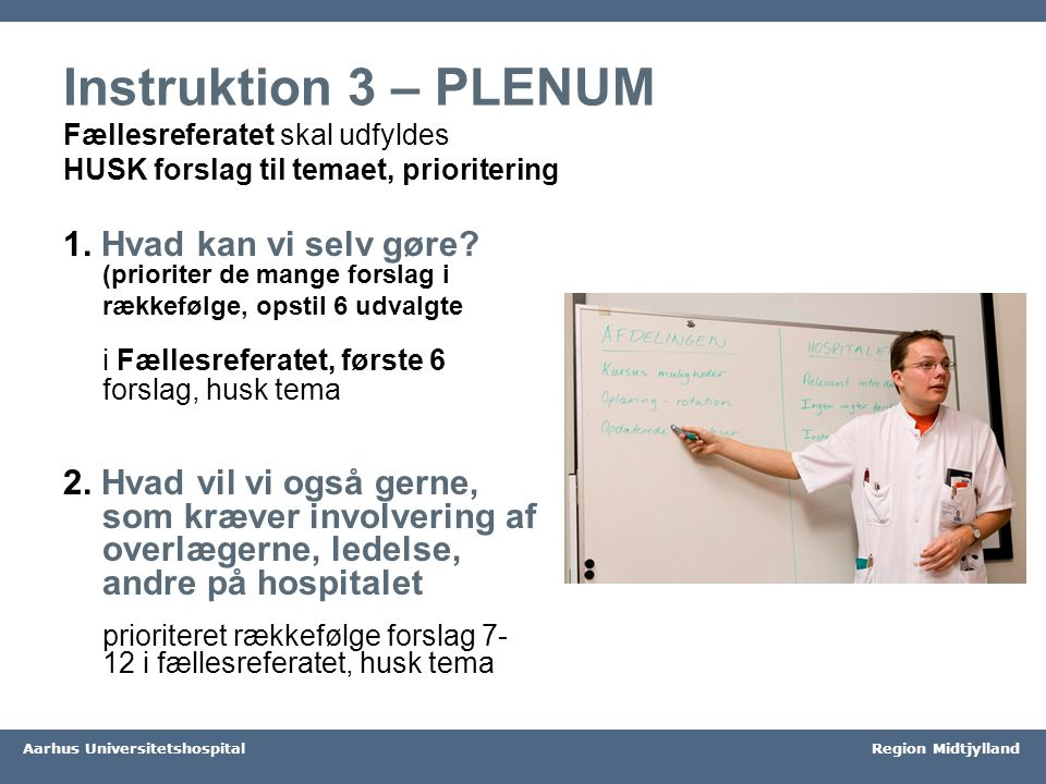 Instruktion 3 – PLENUM Fællesreferatet skal udfyldes HUSK forslag til temaet, prioritering