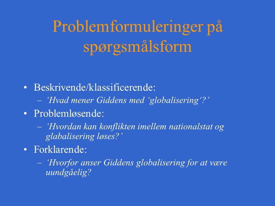Problemformuleringer på spørgsmålsform