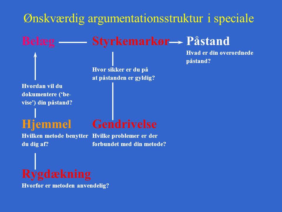 Ønskværdig argumentationsstruktur i speciale