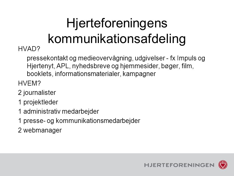 Hjerteforeningens kommunikationsafdeling