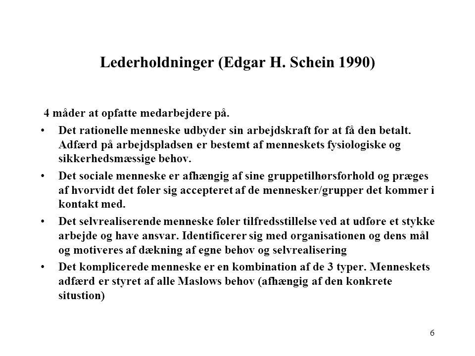 Lederholdninger (Edgar H. Schein 1990)