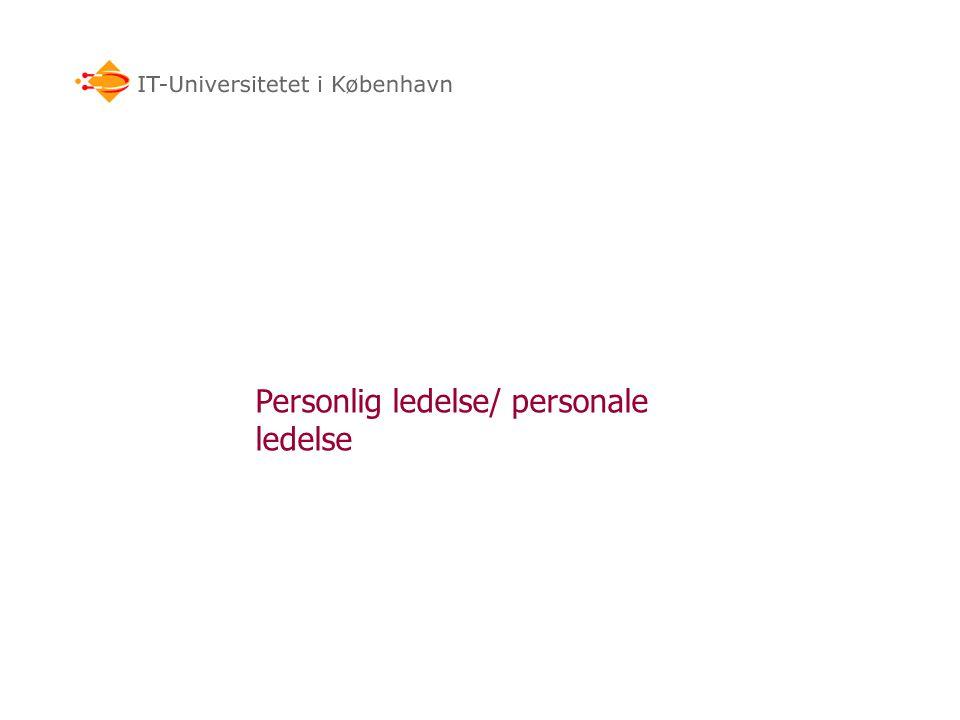 Personlig ledelse/ personale ledelse