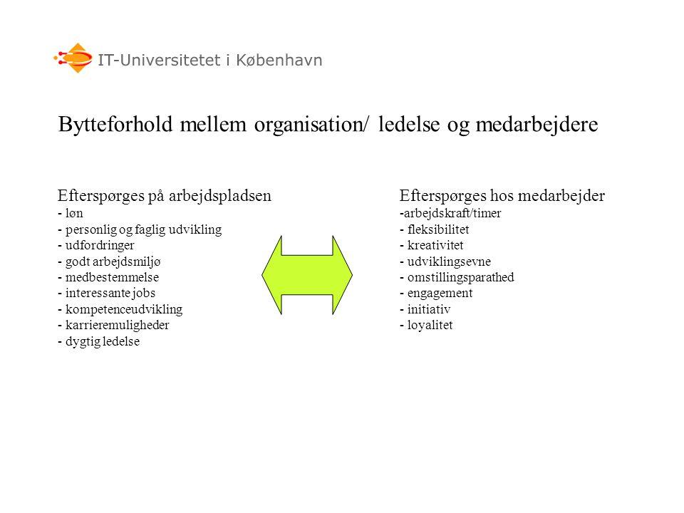 Bytteforhold mellem organisation/ ledelse og medarbejdere