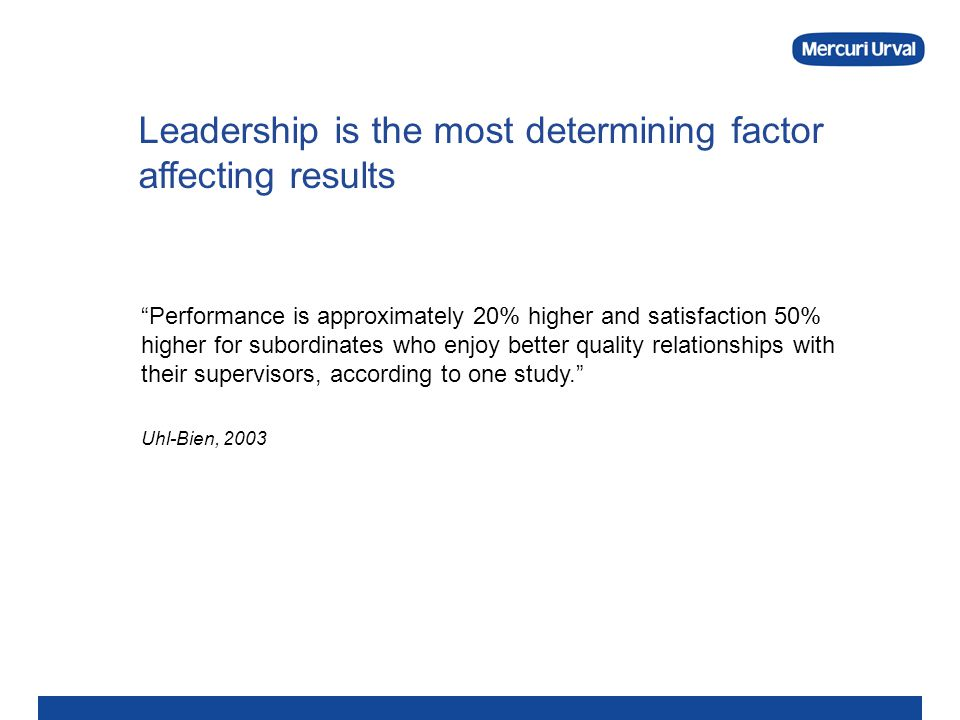 Leadership is the most determining factor affecting results