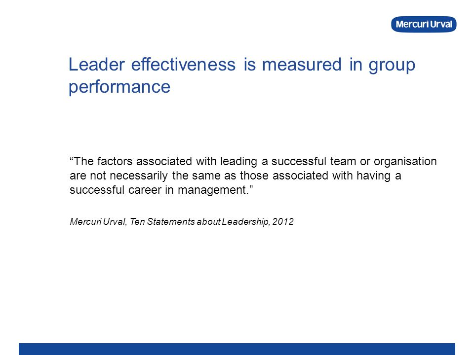 Leader effectiveness is measured in group performance