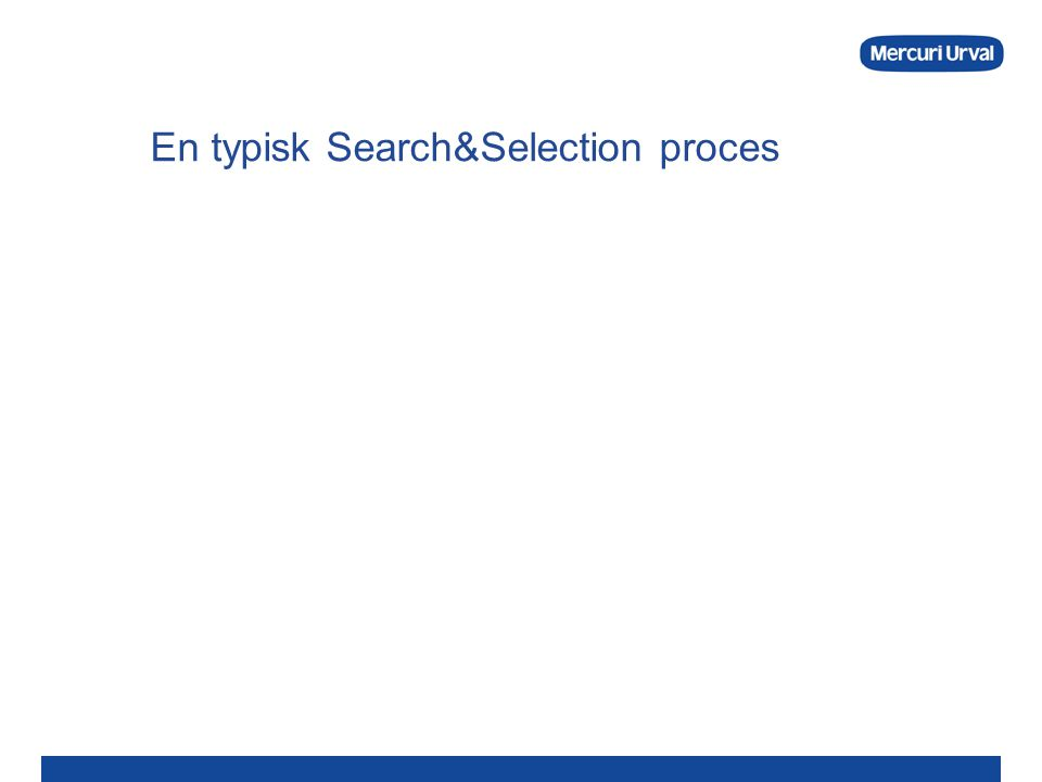 En typisk Search&Selection proces