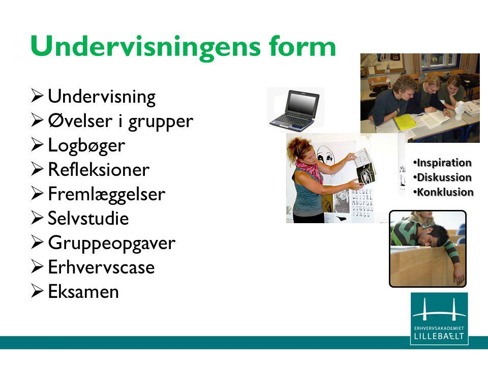 Undervisningens form Undervisning Øvelser i grupper Logbøger