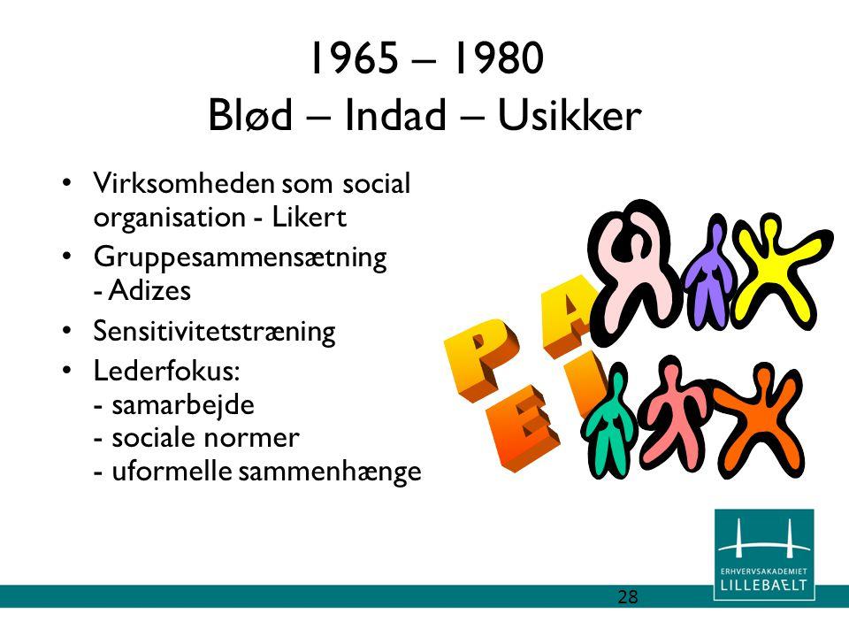 1965 – 1980 Blød – Indad – Usikker P A E I